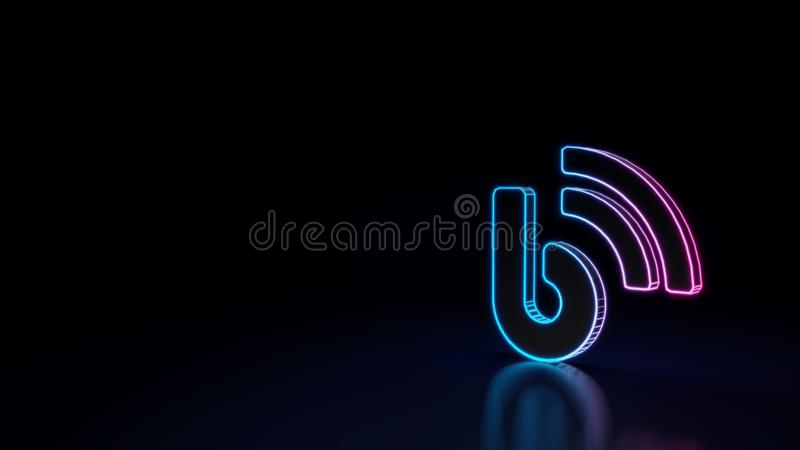 3d glowing neon symbol of symbol of blog isolated on black background royalty free illustration