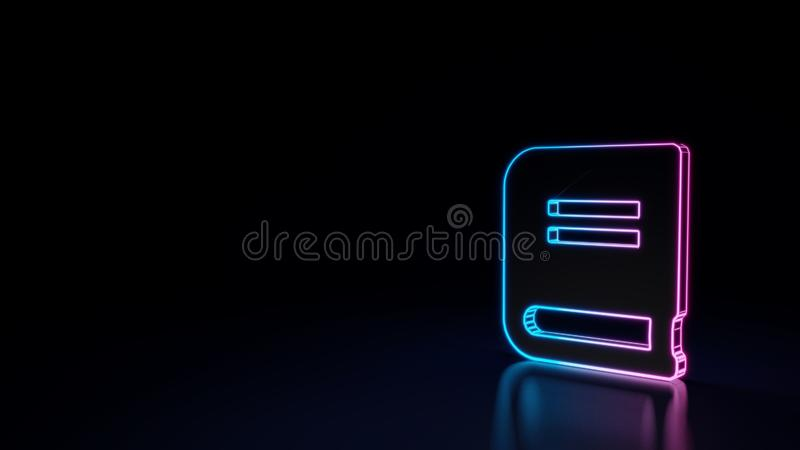3d glowing neon symbol of symbol of book isolated on black background. 3d techno neon purple blue glowing outline wireframe symbol of close book isolated on stock illustration