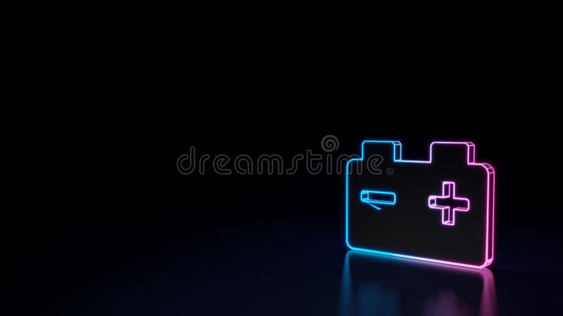3d glowing neon symbol of symbol of car battery isolated on black background. 3d techno neon purple blue glowing outline wireframe symbol of car battery isolated vector illustration