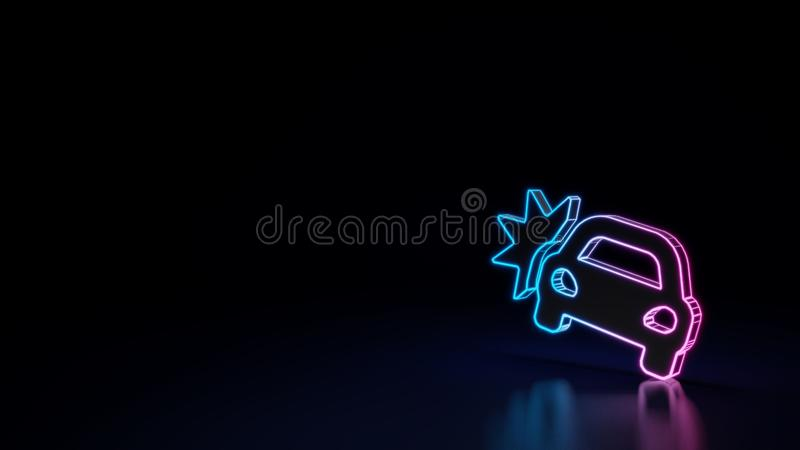 3d glowing neon symbol of symbol of car crash isolated on black background. 3d techno neon purple blue glowing outline wireframe symbol of car crash isolated on stock illustration