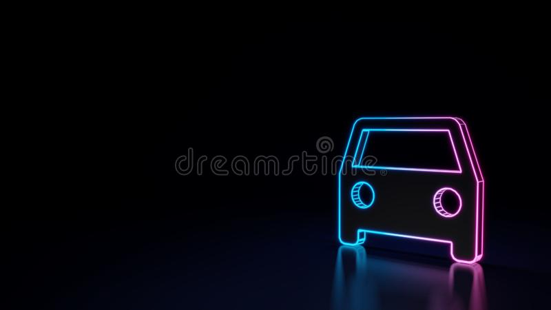 3d glowing neon symbol of symbol of car isolated on black background. 3d techno neon purple blue glowing outline wireframe symbol of car in front view isolated stock illustration