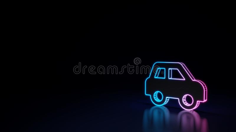 3d glowing neon symbol of symbol of car side isolated on black background. 3d techno neon purple blue glowing outline wireframe symbol of car side isolated on vector illustration