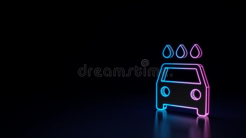 3d glowing neon symbol of symbol of car wash isolated on black background. 3d techno neon purple blue glowing outline wireframe symbol of car wash isolated on vector illustration