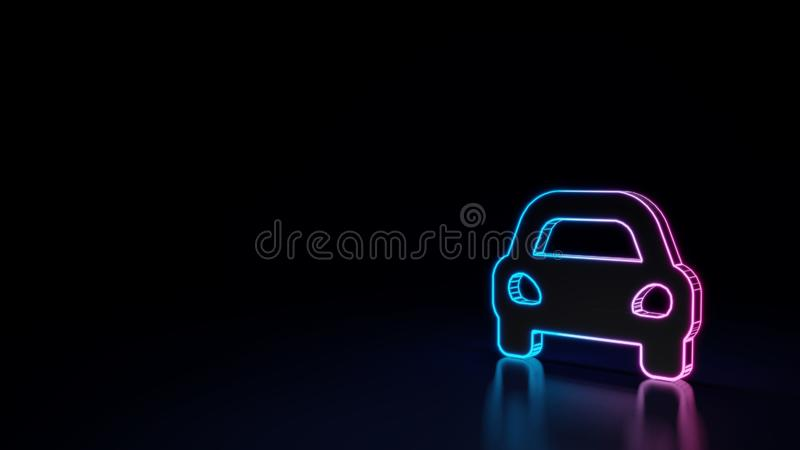 3d glowing neon symbol of symbol of sport car isolated on black background. 3d techno neon purple blue glowing outline wireframe symbol of sports car in front vector illustration