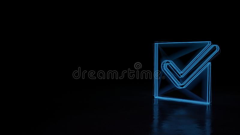 3d glowing wireframe symbol of symbol of checked  isolated on black background vector illustration
