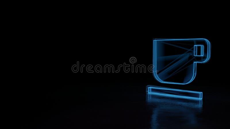 3d glowing wireframe symbol of symbol of coffee mug isolated on black background royalty free illustration