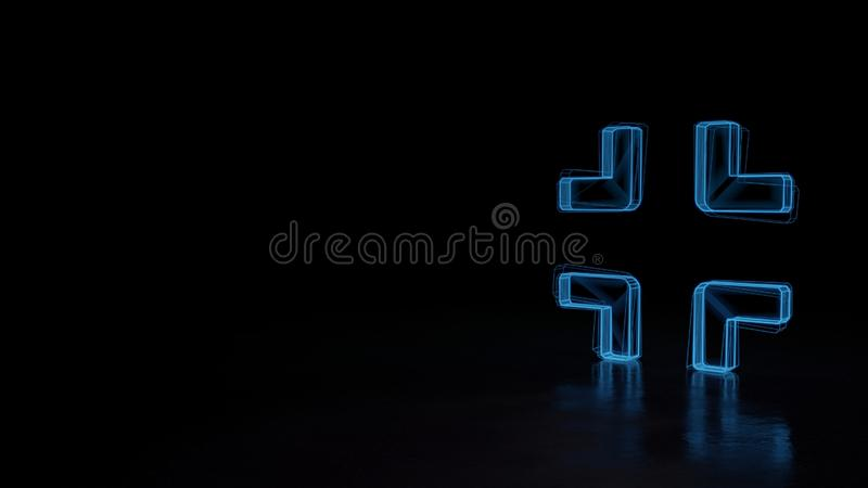 3d glowing wireframe symbol of symbol of compress isolated on black background. 3d techno neon blue glowing wireframe with glitches symbol of compress isolated stock illustration