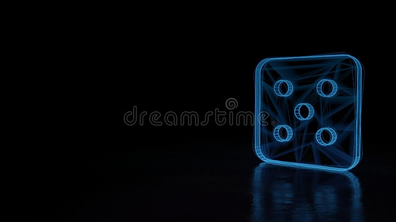 3d glowing wireframe symbol of symbol of dice five isolated on black background. 3d techno neon blue glowing wireframe with glitches symbol of dice with five stock illustration