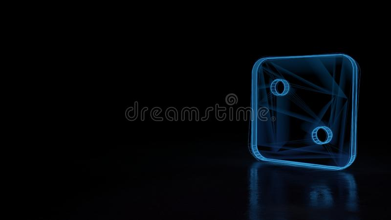 3d glowing wireframe symbol of symbol of dice two isolated on black background. 3d techno neon blue glowing wireframe with glitches symbol of dice with two dots vector illustration
