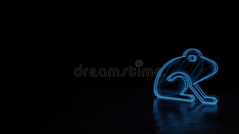 3d glowing wireframe symbol of symbol of frog isolated on black background stock illustration