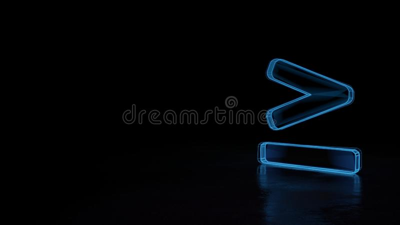 3d glowing wireframe symbol of symbol of greater than equal isolated on black background vector illustration