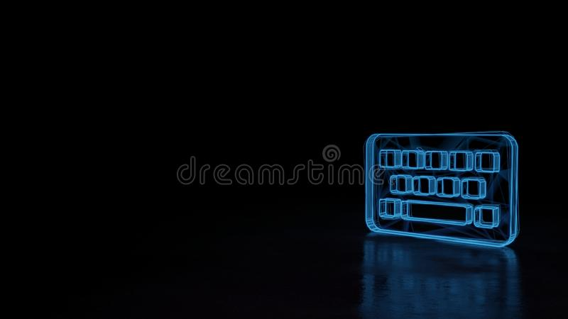 3d glowing wireframe symbol of symbol of keyboard isolated on black background stock illustration