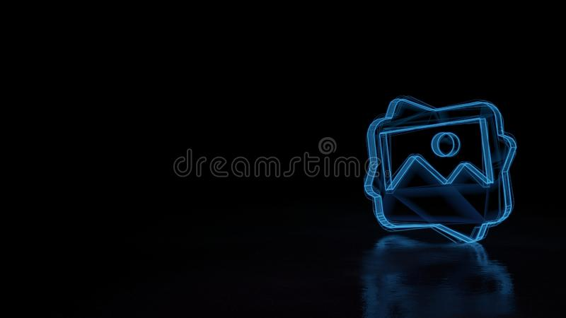 3d glowing wireframe symbol of symbol of picture isolated on black background stock illustration