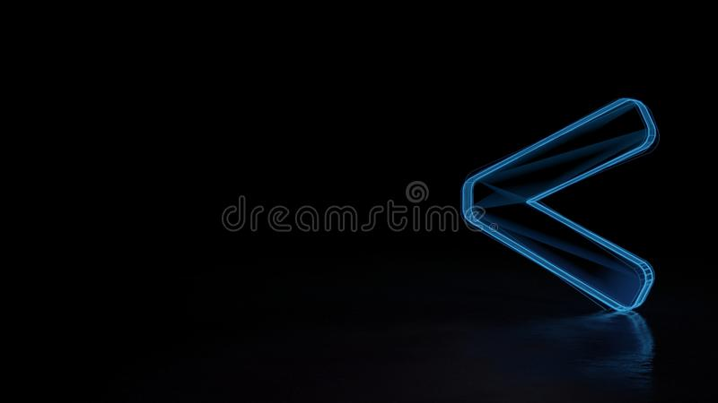 3d glowing wireframe symbol of symbol of less than isolated on black background royalty free illustration