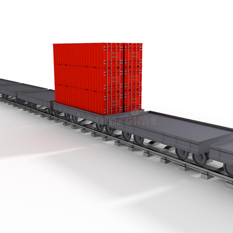3d goederentrein stock illustratie