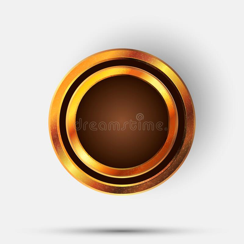 3d Gold blank medal object. Empty golden circle with metal texture. Luxury royal golden shape for different texts royalty free illustration