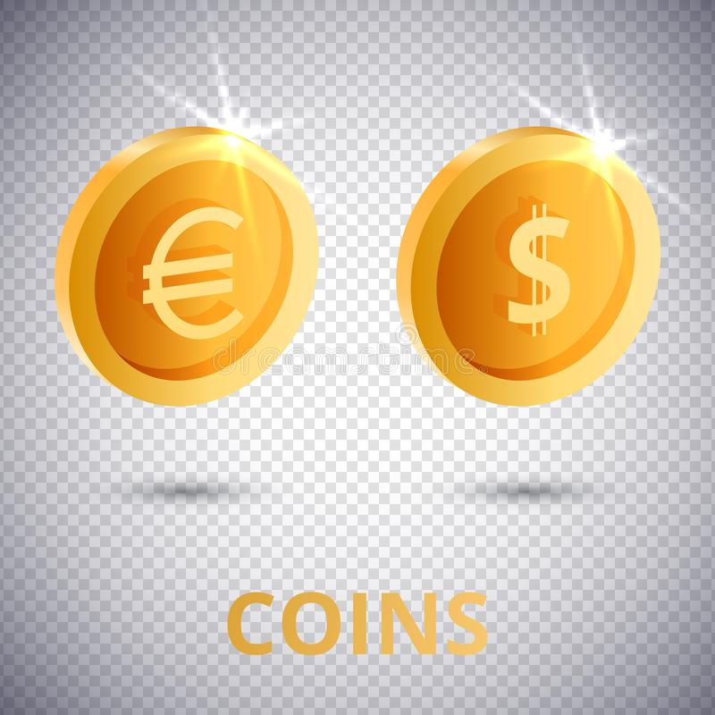3d gold coins dollar and euro in realistic style,modern trendy flyer concept on transparent background,business finance vector illustration