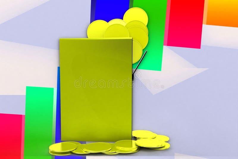 3d Gold Coins Inside Folder Illustration