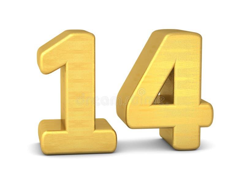 3d Gold der Zahl 14 stock abbildung