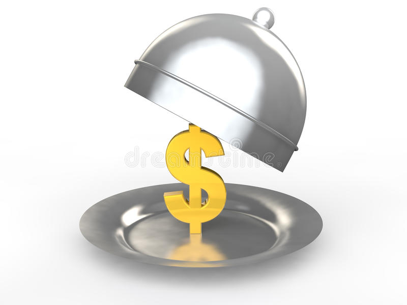 3d gold dollar symbol in a dish stock photography