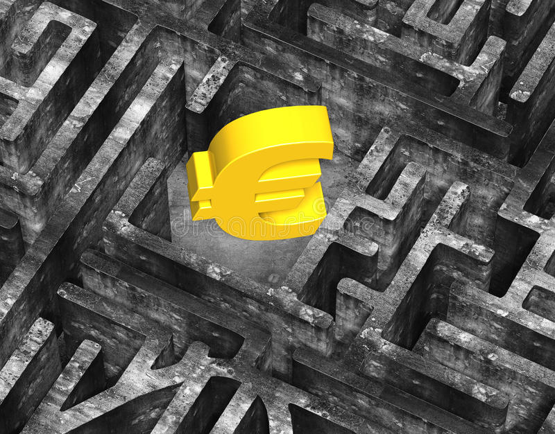 3D gold euro symbol in maze old mottled concrete texture royalty free illustration