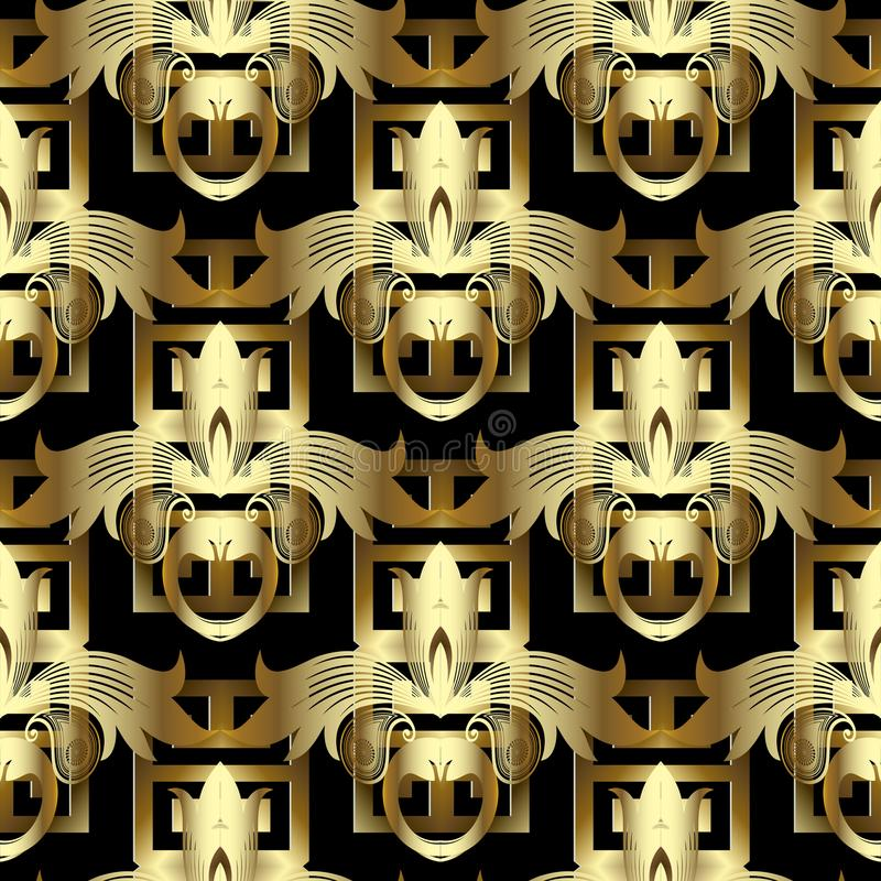3d gold floral greek key seamless pattern. Vintage vector background. Modern meanders geometric ornament with abstract golden dam vector illustration