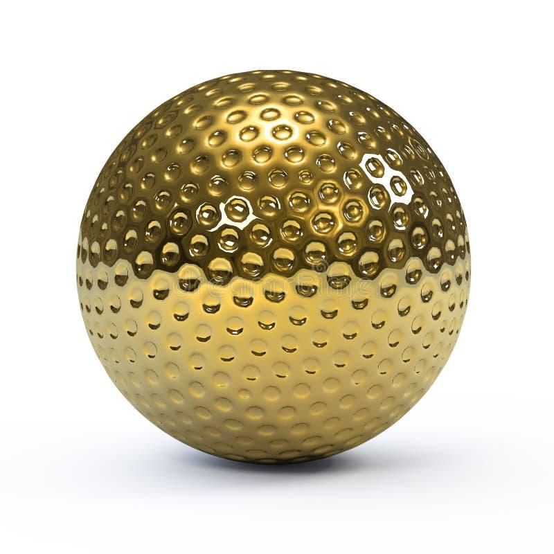 3d Gold golf ball vector illustration