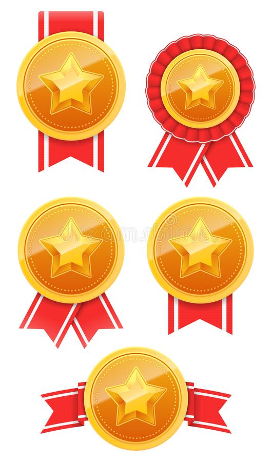 3D Gold medal with star and red ribbon. Winner award icon. Best choice badge set. Vector illustration.  royalty free illustration