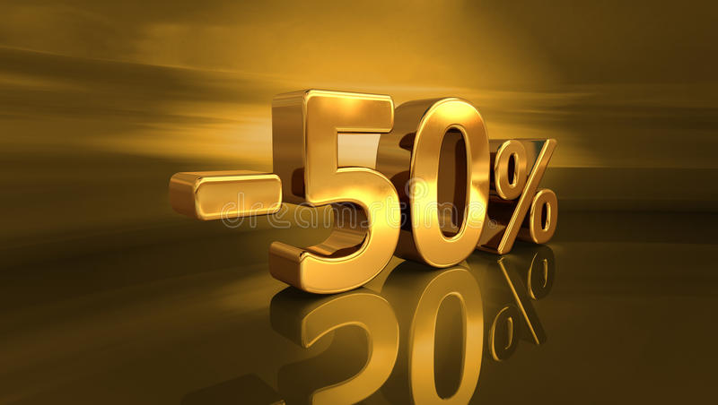 3d Gold -50%, Minus Fifty Percent Discount Sign royalty free stock photography
