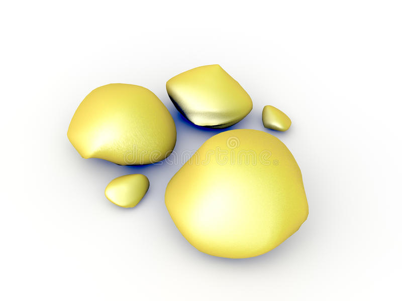 3D Gold nuggets royalty free stock images