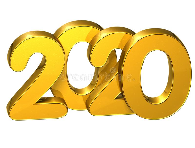 3D Gold Number New Year 2020 on white background stock illustration