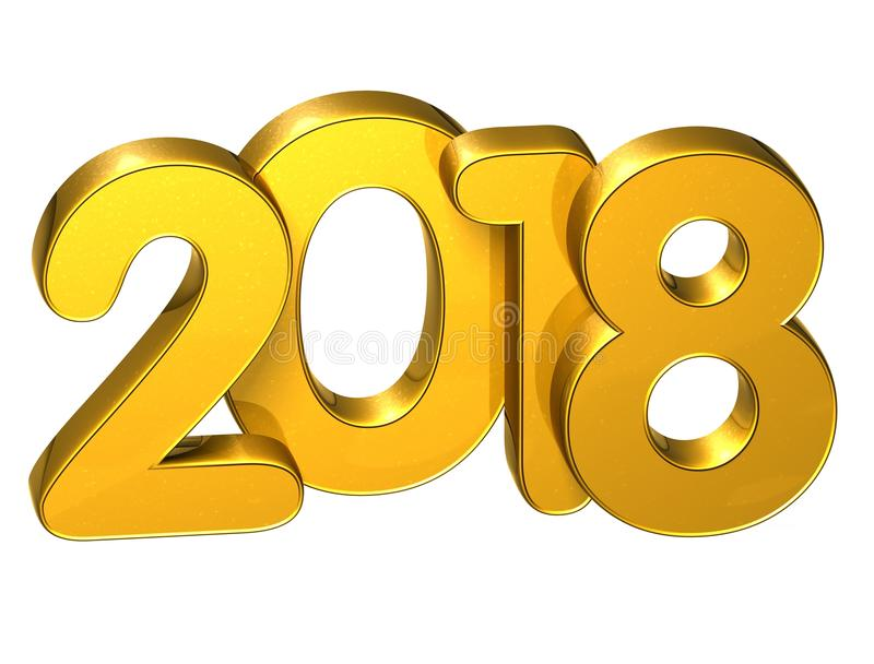 3D Gold Number New Year 2018 on White Background Stock ...