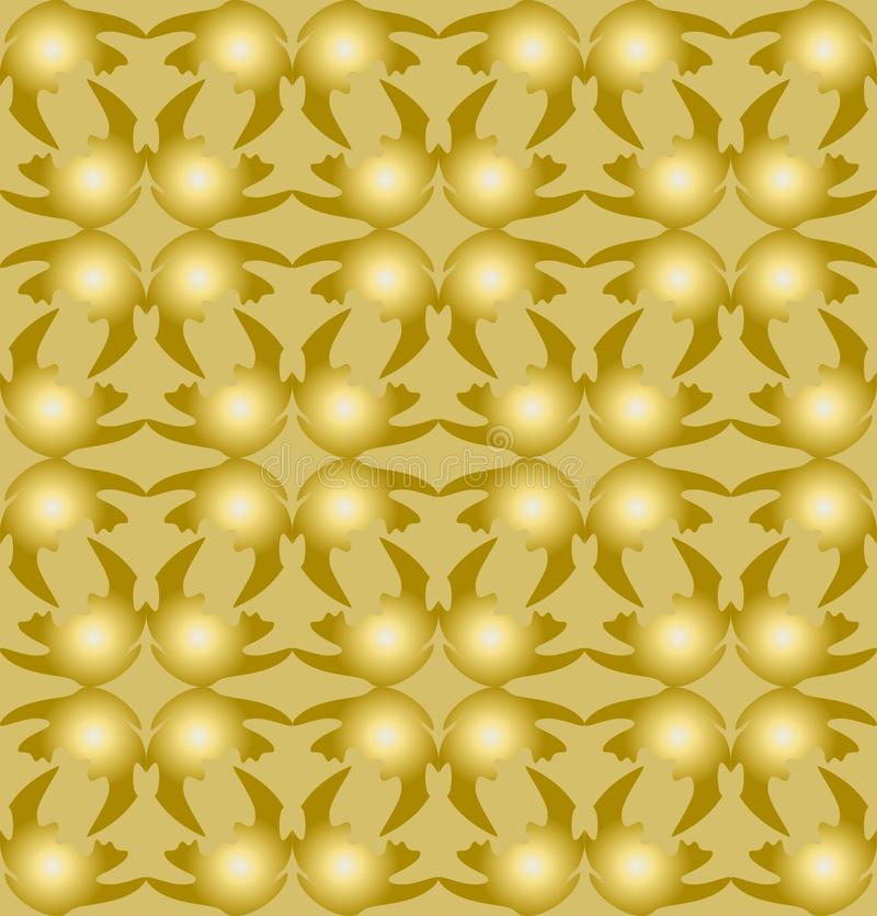 3d gold patterns composed of uneven shapes on light gold background, seamless tile. Modern ornament, luxurious golden royalty free illustration