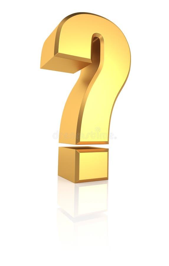3D Gold Question Sign vector illustration