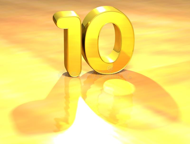 3D Gold Ranking Number 10 on white background. royalty free illustration