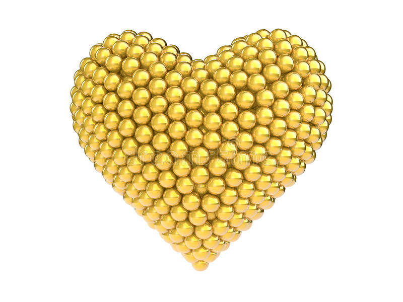 3d gold spheres heart shape stock photography