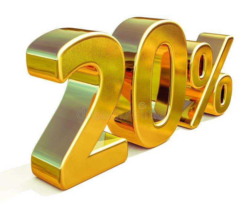 3d Gold 20 zwanzig Prozent-Rabatt-Zeichen stockfotos