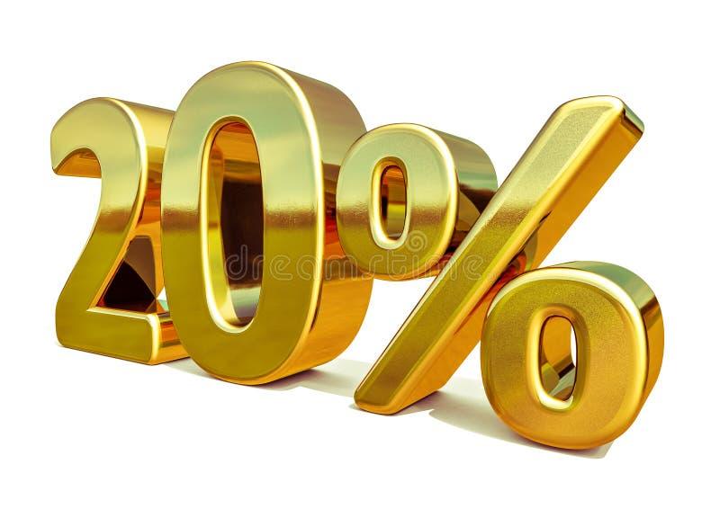 3d Gold 20 zwanzig Prozent-Rabatt-Zeichen lizenzfreie stockbilder