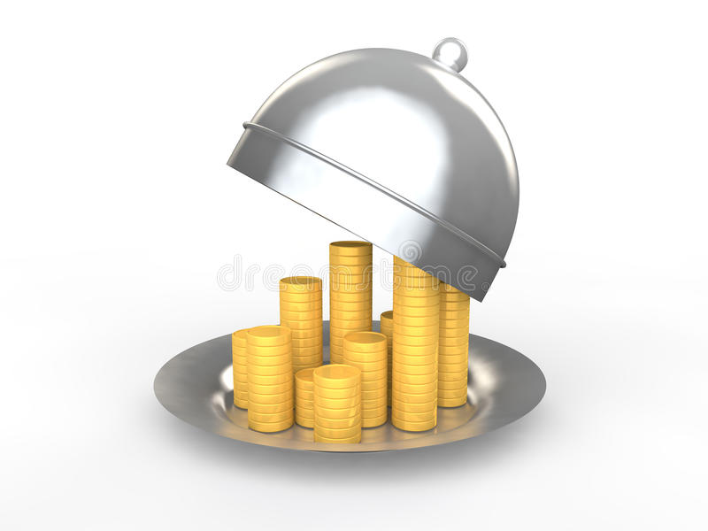 3d golden coins in a dish stock images