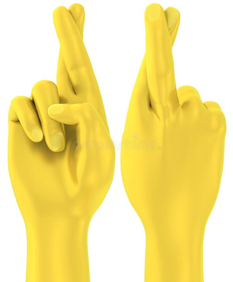 3D Golden crossed fingers hand gesture royalty free illustration