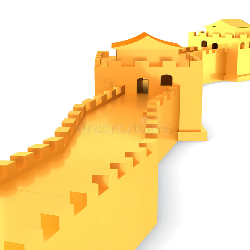 3d Golden Great Wall Of China Stock Illustration - Illustration of ...