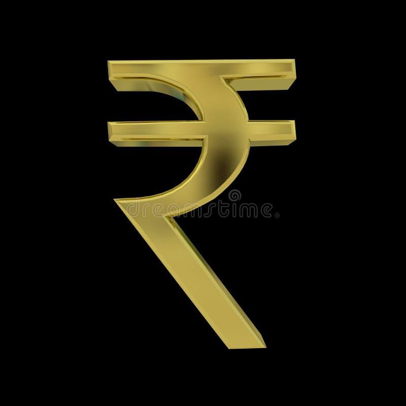 3d Golden Indian Rupee Symbol Isolated On Black Stock Illustration