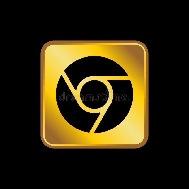 Gold social media icon vector royalty free illustration