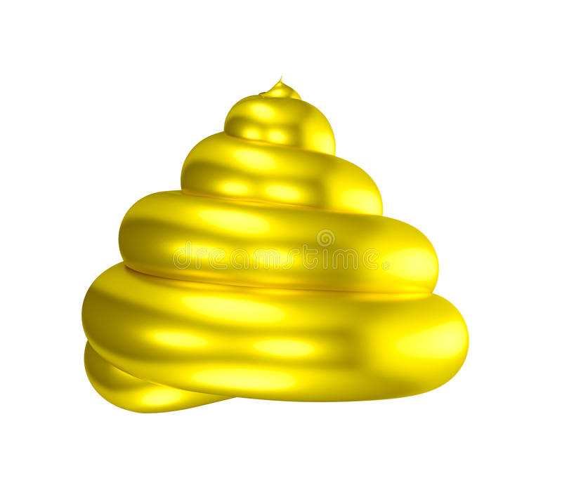 3D Golden poop shiny shit. Gold bullshit. A paradox mixing shit (poo) with golden coating. Metaphor for love and hate, delight and disgust, good and bad or vector illustration