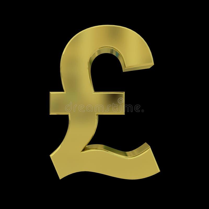 3D golden Pound symbol isolated on Black royalty free illustration