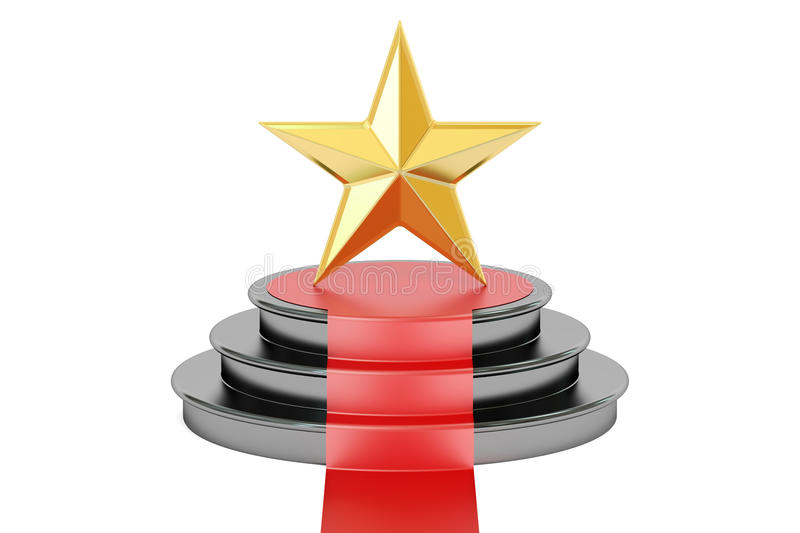 3D Golden star award. Golden star award, 3D rendering on white background royalty free illustration