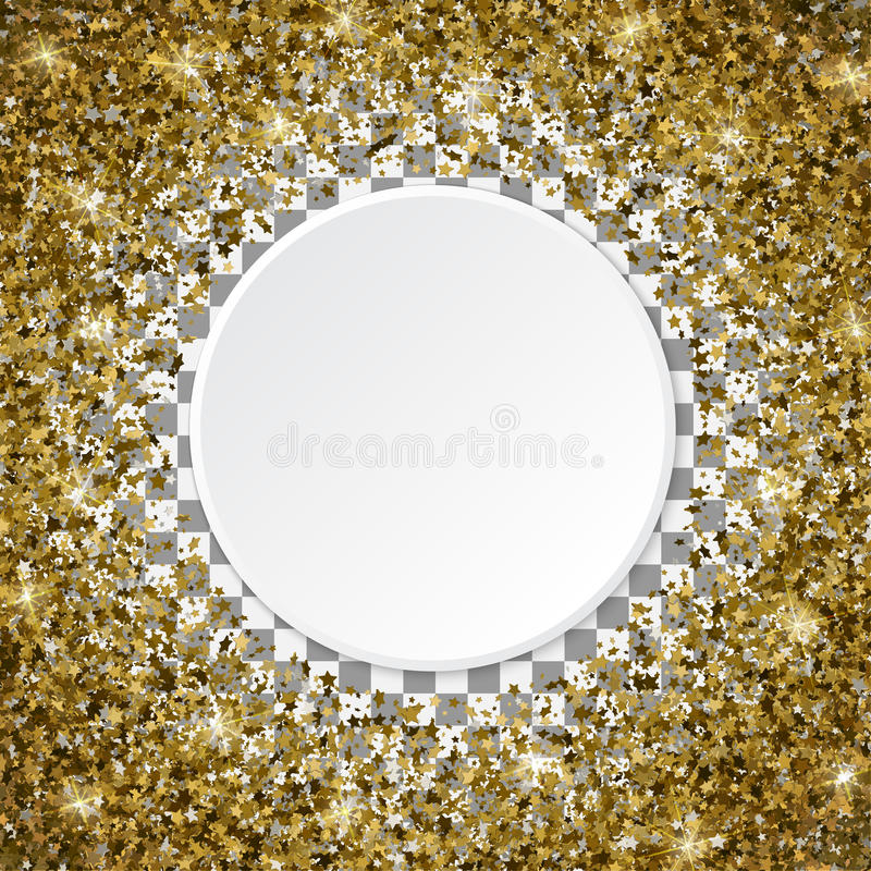 3d Golden star shaped confetti frame isolated on a transparent b. Ackground royalty free illustration