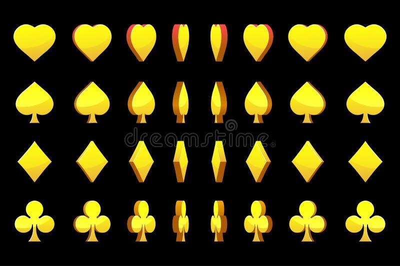 3D Golden symbols poker cards, vector animation game rotation vector illustration