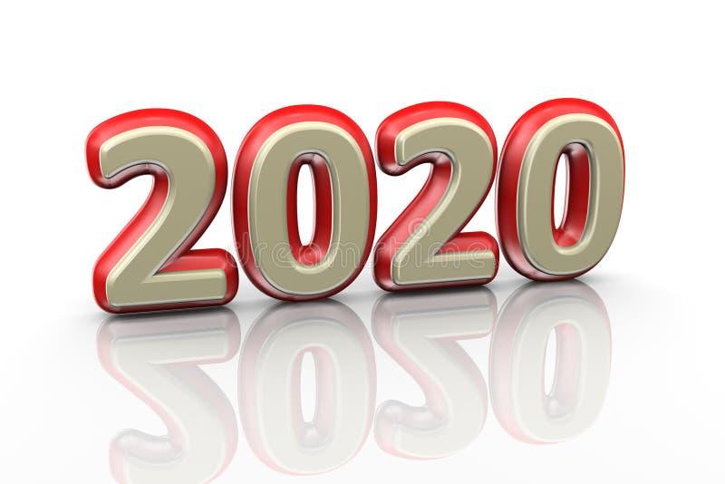 3d golden 2020 text vector illustration
