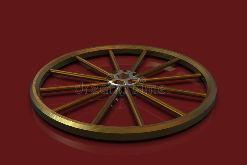 3d golden wheel. On a red background royalty free illustration